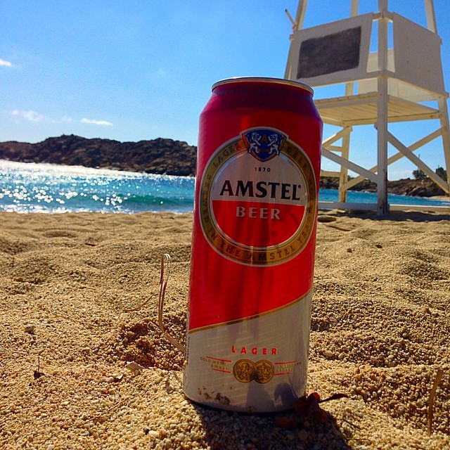 Amstel at Paraga, Mykonos, Greece.
