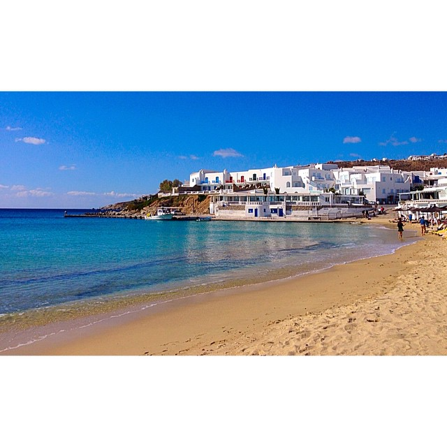 On the beach in Mykonos, somewhere between Paraga and Paradise.